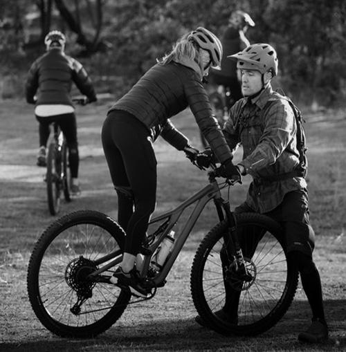 Womens small group mountain biking